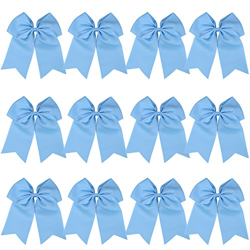 8 Inch Cheerleader Bows Ponytail Holder Cheerleading Bows Hair Tie(Sky blue)