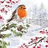 20 tovaglioli con uccellini sul ramo invernale pieno di pigne   animali   inverno   Natale 33 x 33 cm