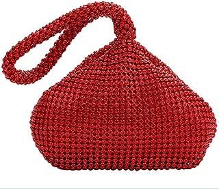 AIJUN Triangle Full Rhinestones Women's Evening Clutch Bag Party Prom Wedding Purse (Red)