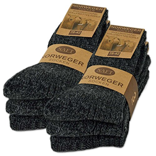 6 Paar Norweger Socken mit Wolle Damen & Herren Wintersocken (Anthrazit 39-42)