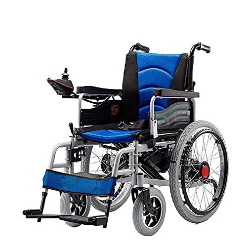 LFLLFLLFL Wheelchairs for Adults, Electric Wheelchair Multi-Terrain Safety Wheelchair Foldable, Weatherproof, Sturdy, Longer Super Horsepower, Dual Motors (Color : Blue)