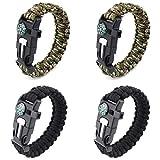 4 Pièces Bracelet de Survie Réglable, Bracelets D'extérieur 5 en 1 avec Allume-feu en...