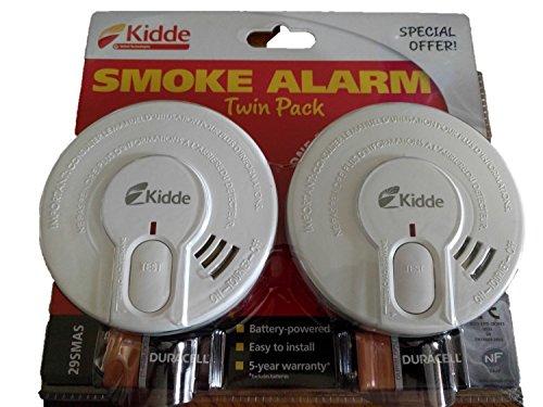 Kidde 29-FR Sensor de alarma de humo óptico 29-FR - Uno para arriba y otro para abajo - Baterías incluidas - Reemplaza por fecha - 03-2028