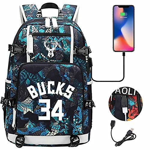 AGLT Mochilas para niños Bucks n#34 Alphabet Brother Basketball Fan Student Bookbags Luminoso paquete de hombro doble para hombres y mujeres, F8