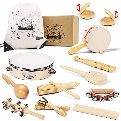 Chriffer Kids Musical Instruments Toys, Percussion Instruments Set with Xylophone, Preschool Educational Music Toys for Boys Girls, Natural Eco-Friendly Wooden Music Set (11pcs)