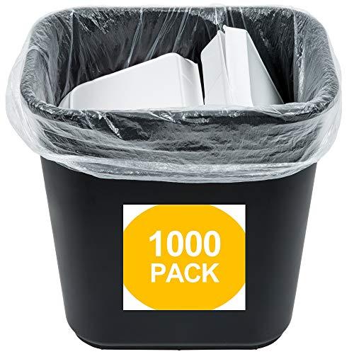 "1000 Small to Medium Trash Bags | 7-8-9-10 Gallon Trash Bags | 24"" x 24"" Clear Garbage Bags - Commercial Waste Basket Trash Bags | Bulk Plastic Bathroom Trash Can Liners | Office Shredder Bags"