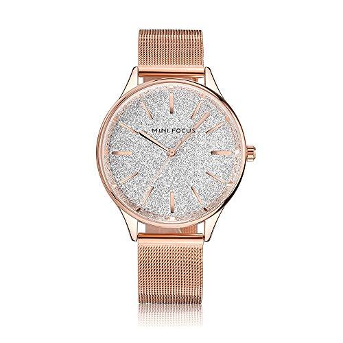 Reloj de Mujer Cronógrafo de Cuarzo Moda Pulsera Informal Novia Regalo de cumpleaños 30 Metros Impermeable Oro Rosa