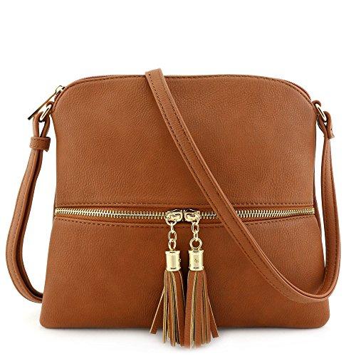 Lightweight Medium Crossbody Bag with Tassel Tan
