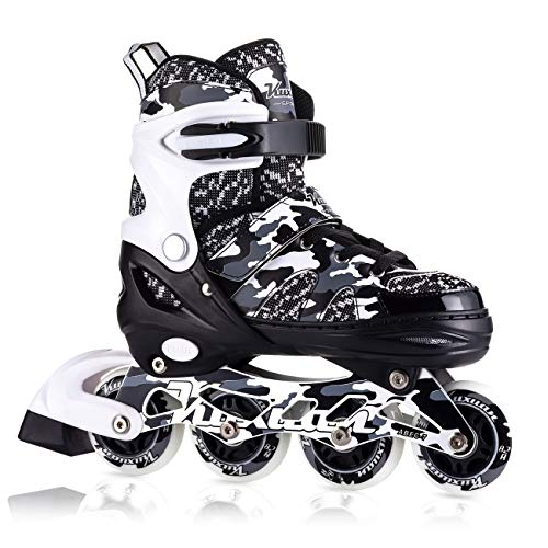 Kuxuan Boys Camo Black & Silver Adjustable Inline Skates with Light up Wheels - Small(Kids 10-13 US)