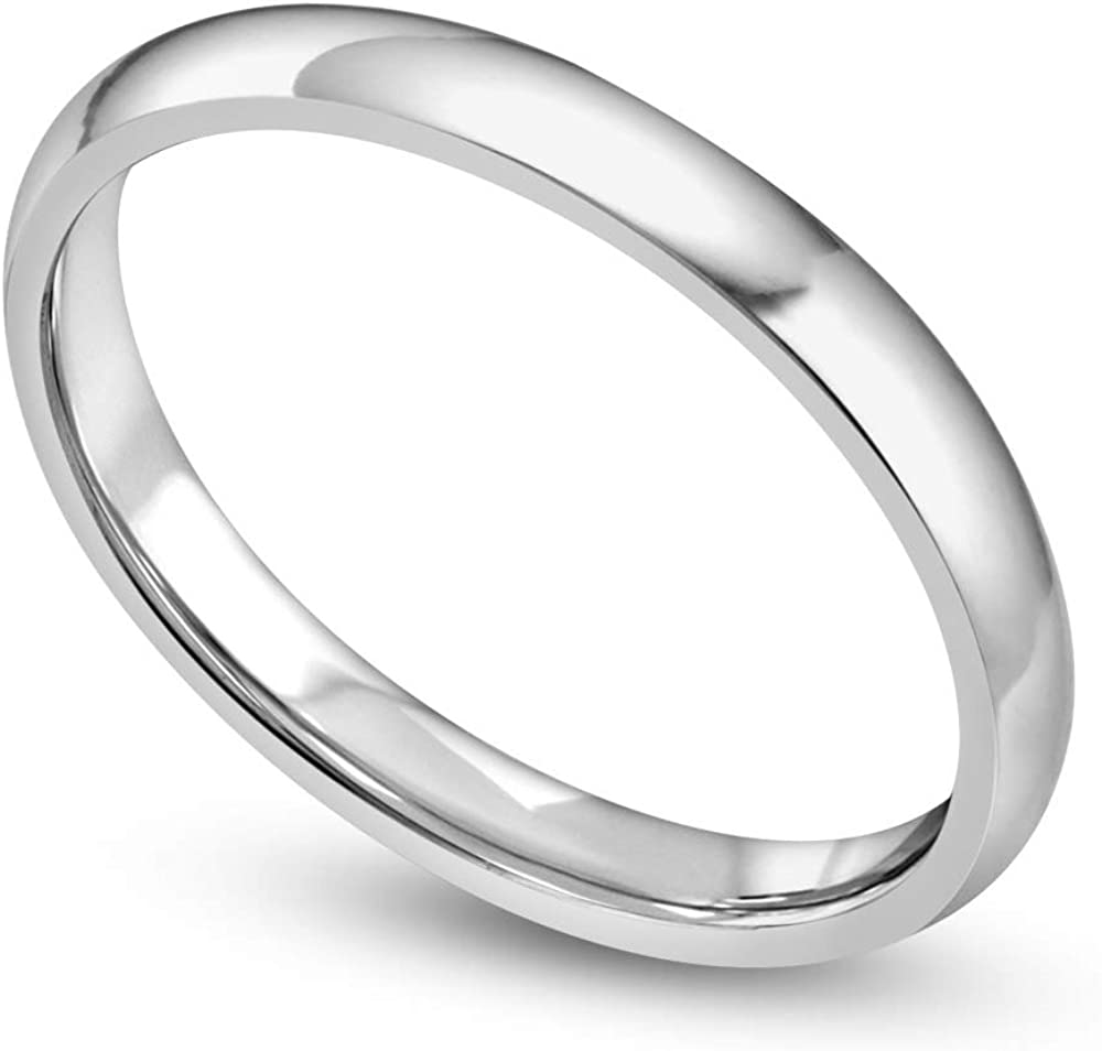 Danforth 10K 2mm White/Yellow Light Stackable Gold Ring For Women In Classic Half Round Design, Elegant Gold Rings, Gold Jewelry, Dainty Wedding Bands For Women Perfect For Engagement Or Anniversary