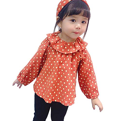 Gyratedream lente herfst casual mode baby meisje dep print lange mouwen hemd kinderen blouse 1-3 jaar kinderen Large rood
