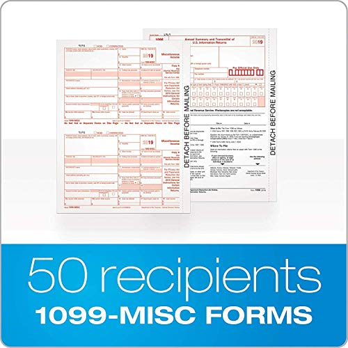 1099 MISC Forms 2019, 4 Part Tax Forms, Kit for 50 Individuals Income Set of Laser Forms - Designed for QuickBooks and Accounting Software -2019 1099 Tax Forms-