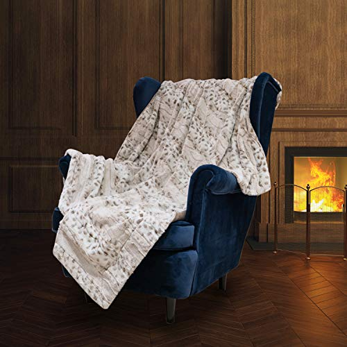 Super Soft Faux Fur Throw Blanket- Royal Luxury Cozy Plush Blanket use for Couch Sofa Bed Chair, Reversible Fuzzy Faux Fur Velvet Blanket 50 Inch x 60 Inch (Snow Leopard Print)