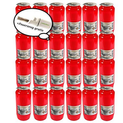 Protinam 24 x Bolsius Memento Kompositionsöllicht Nr. 7 rote Hülle, weiße Brennmasse – Grabkerzen/Grablichter im Vorteilspack mit einem Stabfeuerzeug Kollektion