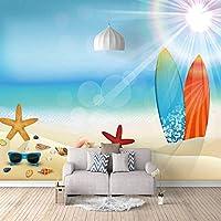 QHZSFF 3D写真壁紙壁画 ヒトデとサーフボード 壁の壁画壁紙3Dアート壁画リビングルーム寝室の装飾壁装材 140 x 100cm