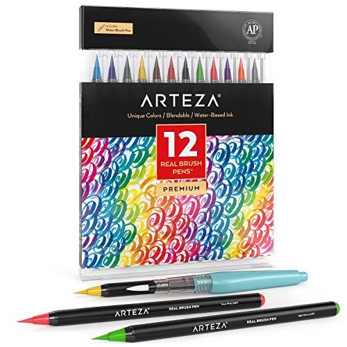Arteza Caja de 12 rotuladores de pincel | Pinceles con tinta de agua | 12 colores individuales | para caligrafía y coloreado
