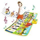 BelleStyle Alfombra de Piano, Alfombra Musical para Bebé, Estera de Piano Musical con 8 Instrumentos 10 Teclas de Piano Baile Tapete Juguetes para Niños Niñas de 3 a 6 Años 100 * 36cm