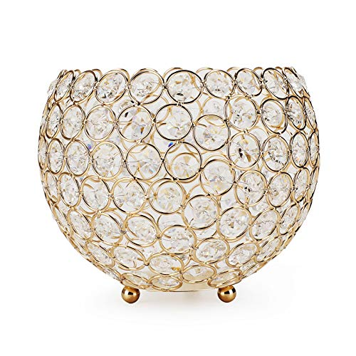 OwnMy 7' Crystal Bowl Votive Tea Light Candle Holders Candle Lanterns Flower Vases for Artificial Bouquet Decorative Candle Stand Tealight Holder for Wedding Table Centerpieces (Golden)
