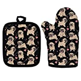 WELLFLYHOM Heat Resistant Oven Mitts and Pot Holders Sets, Fun Cute Pug Dog Print, Oven Mitts Heavy Duty Easy Gril, Pot Holders Non Slip & Easy Clean, Home Decoration Cooking Protector Gloves and Mat