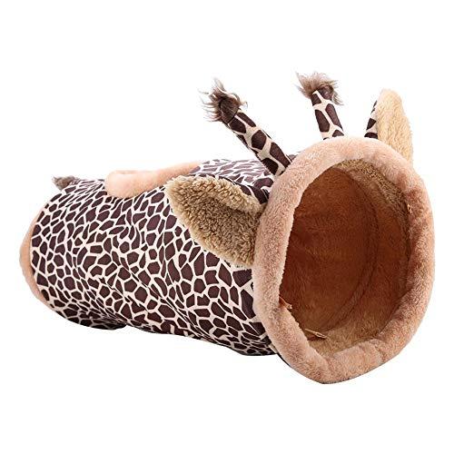 Pssopp Katzenspielzeug Katzentunnel Katze Spielzeug Faltbarer Rascheltunnel Spieltunnel Katze Tunnel für Kleine Mittlere und Große Katzen Hund Kaninchen, ø 24 cm/70 cm(Giraffe)