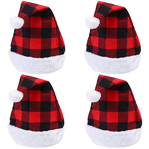 Aneco 4 Pack Santa Red Hat Christmas Plaid Santa Hat Short Plush with White Cuffs Plush Fabric Christmas Hat for Adults and Kids