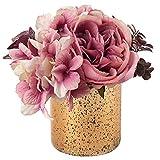 Flores artificiales de seda hortensia, peonía, flores falsas en florero de cristal de mercurio, flores artificiales en macetas para el hogar, cocina, mesa, centros de mesa, decoración - rosa