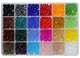 Shapenty 24 Colors 6mm Decorative Hand Briolette Faceted Rondelle Crystal Glass Beads with Hole for DIY Craft Bracelet Necklace Jewelry Making, 1200 Pieces/Box