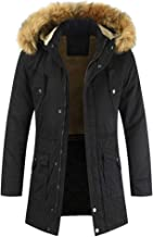 iYYVV Mens Winter Zipped Warm Cotton Outwear Casual Solid Long Sleeve Trench Jacket Coat