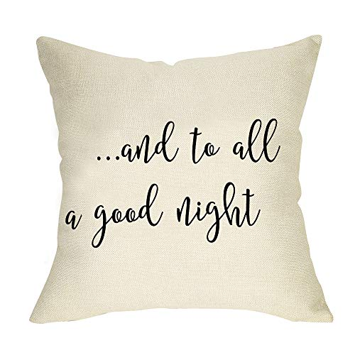 Softxpp Rustic and to All a Good Night Throw Pillow Cover Farmhouse Christmas Sign Gift Winter Holiday Decor Cushion Case Decorative for Sofa Couch 18' x 18' Inch Cotton Linen