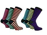 Herren-Socken, Basset, Streifen, Teddy, Junge, Rock'n'Roll, für Kostüm, Größen39–45, Neon-Farbe,3Paar