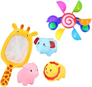 TOYANDONA 1 Set Baby Bath Toys Fish Figure Toy Floating Squirts Toys with Fishing Net Bathtub Pool Bath Time Toy for Kids ...