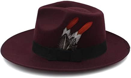 2019 Women Men's Fedora Hat, Autumn and Winter Wool Men's Hat Summer Tide Korean Personality Female Hat Jazz Hat British Felt Hat (Color : Dark Red, Size : 56-58CM)