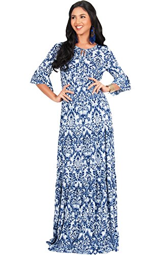 KOH KOH Womens Long Half Sleeve Peasant Print Flowy Boho Casual Cute Maternity Empire Waist Renaissance Boho Gown Gowns Maxi Dress Dresses for Women, Navy Blue M 8-10