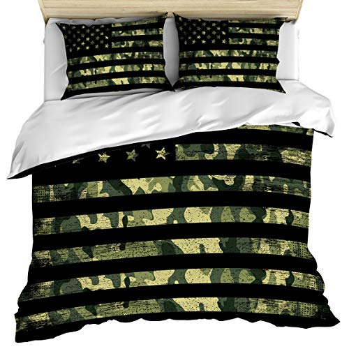 Rustic Camouflage American Flag Bedding Set Ultra Soft 3 Piece Comforter Cover Set Queen Size, Stars and Stripes Military Duvet Cover Set with 2 Pillow Shams for Kids/Teens/Adults/Toddler