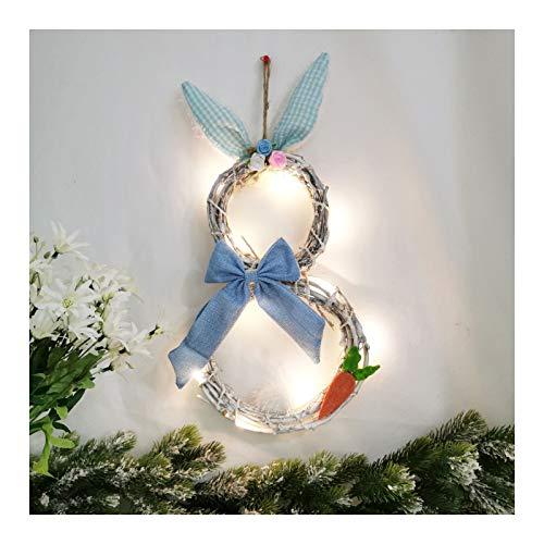 LKOPYUo Decoración de la corona de conejito de Pascua, 48 x 25 cm luces de la puerta de la puerta de la puerta, orejas de conejo decoracion de decoración de ratán círculo adornos de guirnalda, pared d