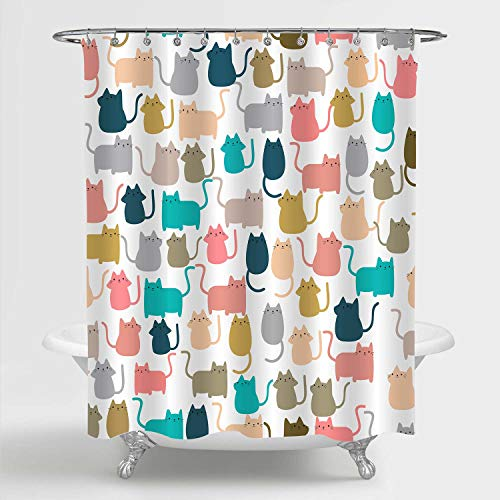 MitoVilla Cute Cat Shower Curtain, Colorful Cartoon Happy Kitty Cat Kitten Pattern Bathroom Decor for Women, Kids Girls, Waterproof Fabric Bathroom Accessories, Gifts for Cat Lovers, 72' W x 72' L