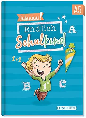 Endlich Schulkind! A5 Erinnerungsalbum zur Einschulung für Jungen by Häfft [Blau] Hardcover Einschulungsbuch Schulanfang, erster Schultag | Geschenk für die Schultüte | klimaneutral & nachhaltig