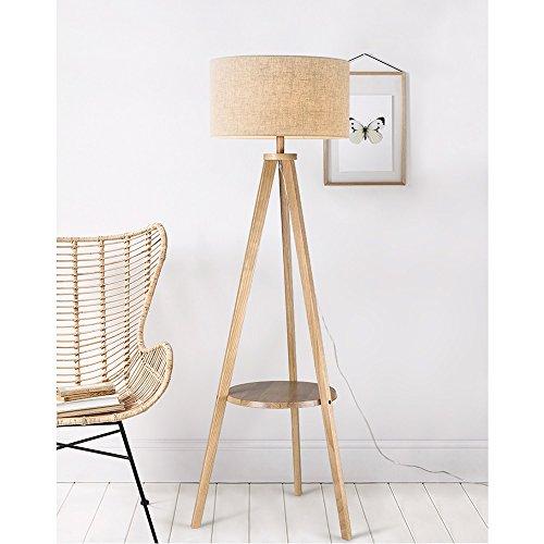 HJR Lampe De Plancher Salon Simple Moderne Chambre Nordique Lampe De Table Verticale Créative Lampe À Thé En Style Européen En Bois Massif A+ (Couleur : Blanc-Wood color panel)