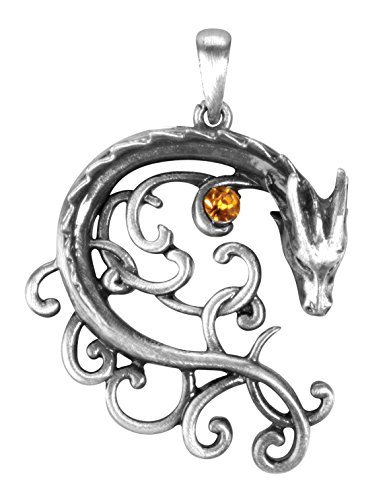 YTC Summit 1.52 Inch Celtic Dragon Charm Pendant, Orange and Silver Colored