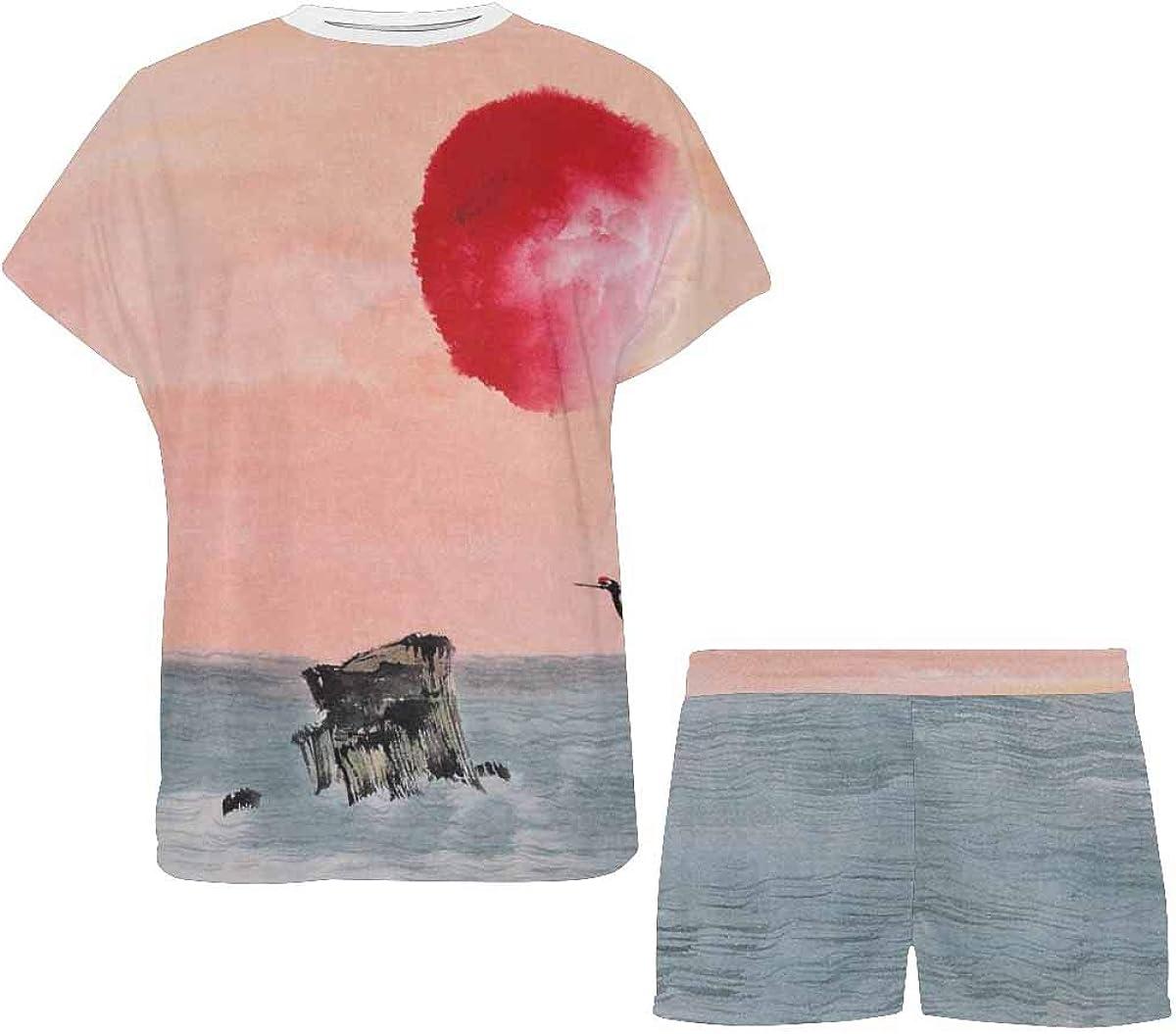 INTERESTPRINT Asian Traditional Painting Women's Pajama Sets Short Sleeve Shorts - Pajamas for Women