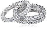 Sterling Silver Cubic Zirconia All-Around Band Stacking Ring Set (Set of 3), Size 5.5
