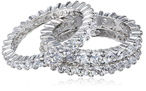 Sterling Silver Cubic Zirconia All-Around Band Stacking Ring Set (Set of 3), Size 6.5