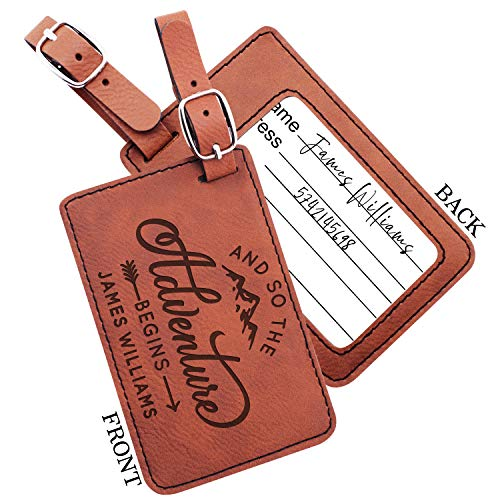 Personalized Leather Luggage Tags Gifts with Engraved Design and Name - Traveler Gifts for Women, Men, Kids - Custom Suitcase Tag for Honeymoon - Christmas Gifts for Travelers | Chestnut