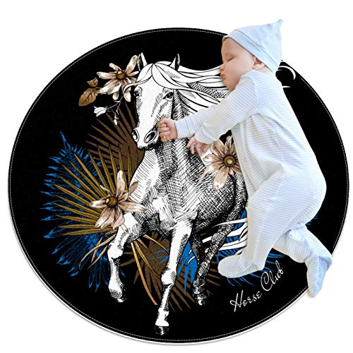 Indimization Caballo Blanco Azul Alfombra Redonda Alfombra Redonda decoración Arte Antideslizante niños Lavables a máquin Suave Sala Estar Dormitorio de Juegos para 70x70cm