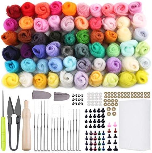 203 Pcs Felting Kit, Jupean Needle Felting Kit for Beginner, 60 Colors Wool Roving, Wool Felting Tool Kit with Felting Needles, Foam Mat, Needle Felting Supplies for DIY Felting