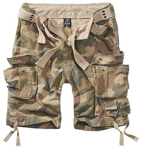 Brandit Savage Vintage Gladiator - Pantalón corto con cinturón a juego, muchos colores, también tallas grandes hasta 7XL Light Woodland. 7X-Large