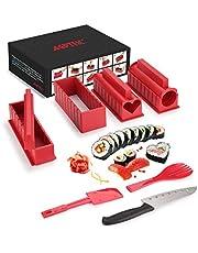 Sushi Making Kit, AGPtEK Sushi Maker 11 STKS Compleet met Premium Sushi Mes & Gebruikershandleiding, 11 Stuks DIY Sushi Set Sushi Rolls