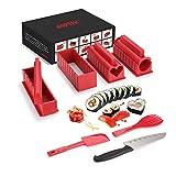 AGPTEK Sushi Maker Kit, 10 TLG Komplett Sushi Making Kit, 5 Formen DIY Selber Sushi Machen Set mit hochwertigem Sushi Messer, Perfekt für Sushi DIY auch als Geschenk