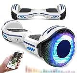 RCB Scooter Elettrico da 6,5 Pollici con LED Bluetooth su Ruote Brillante Auto bilanciamento 6.5'' Lampeggianti Bluetooth per Adulti e Bambini Regalo di Natale (Bianco)
