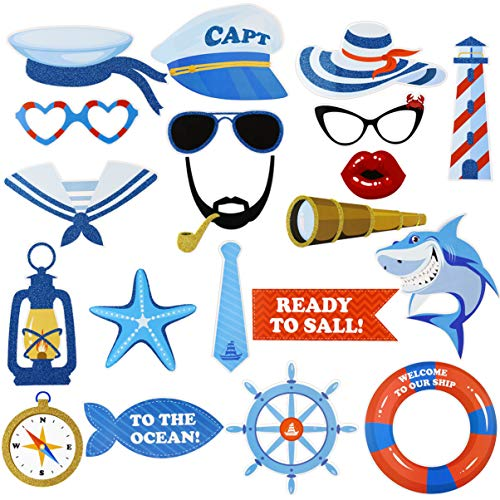 PRETYZOOM 20pcs Nautical Photo Props Sailor Photo Booth Props for Ocean Party Supplies Sailor Party Decoration Birthday Party Photo Props